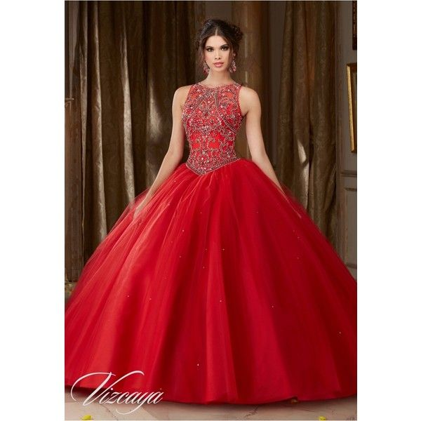 Quinceanera Dresses – Vizcaya Gown Dress Style 89106 ❤ liked on Polyvore featuring dresses, gowns, beaded gown, red beaded dress, red dress, quinceanera prom dresses and quinceanera gowns