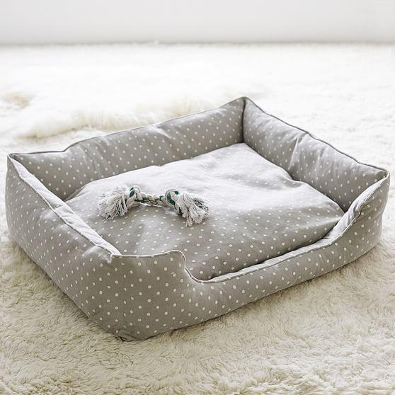 Northfield Canvas Pet Beds, Gray Dot