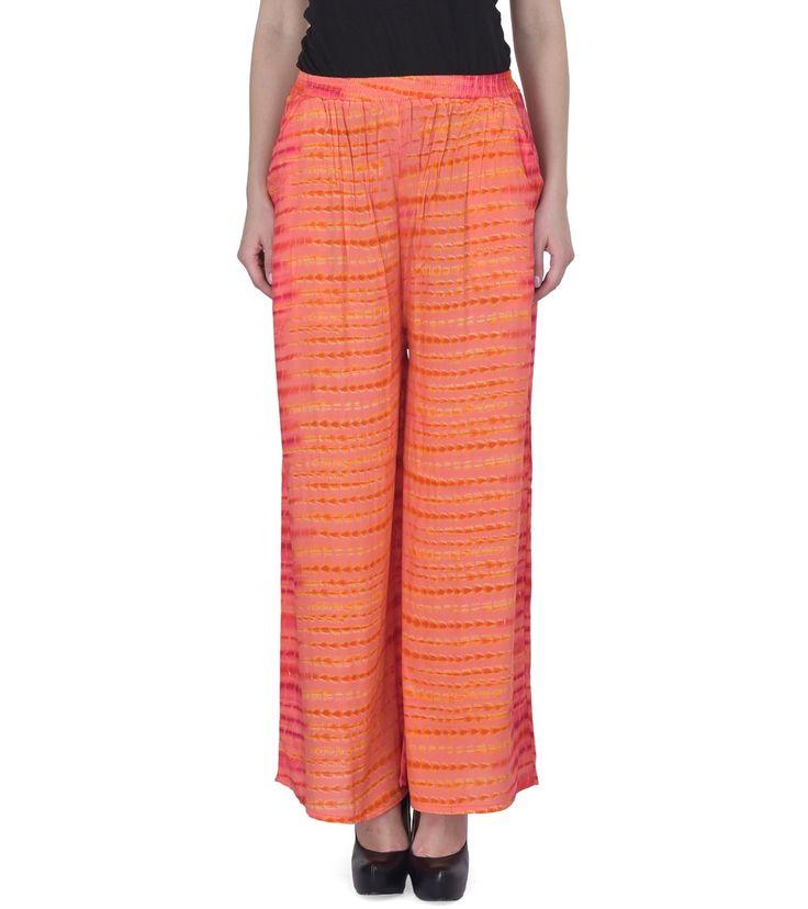 Pink Rayon Printed Palazzos #indianroots #bottomwear #palazzos #rayon #printed #casualwear