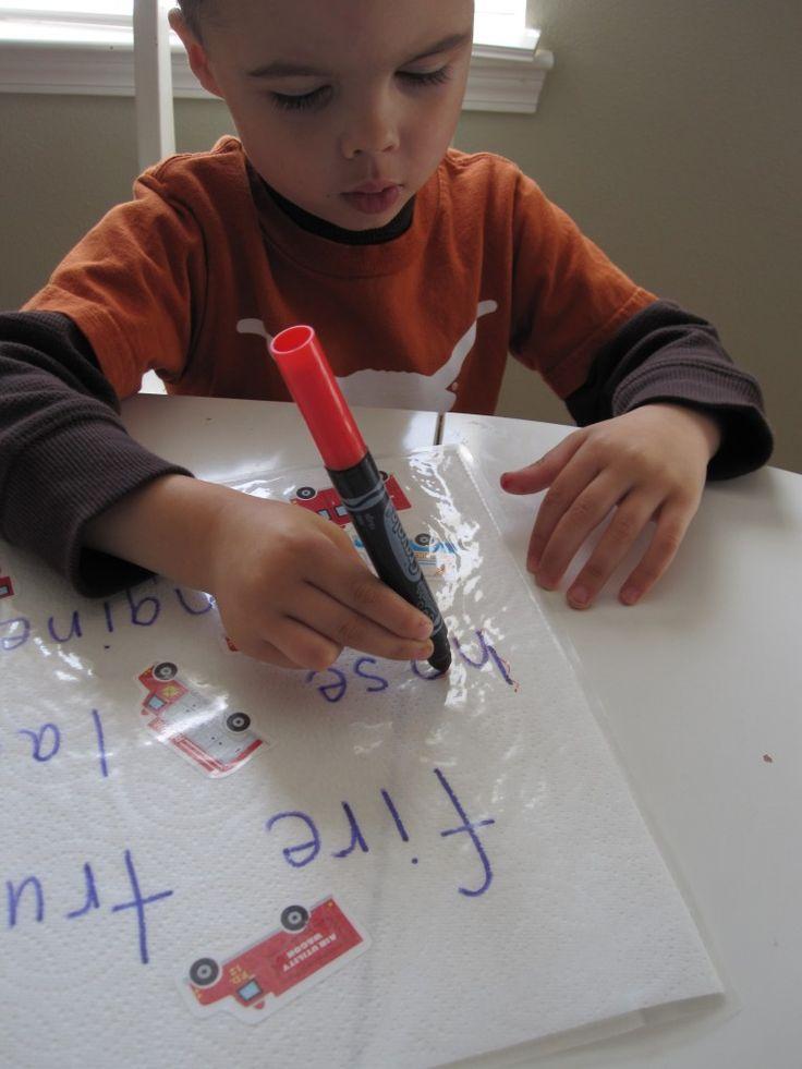 DIY write & trace place mats