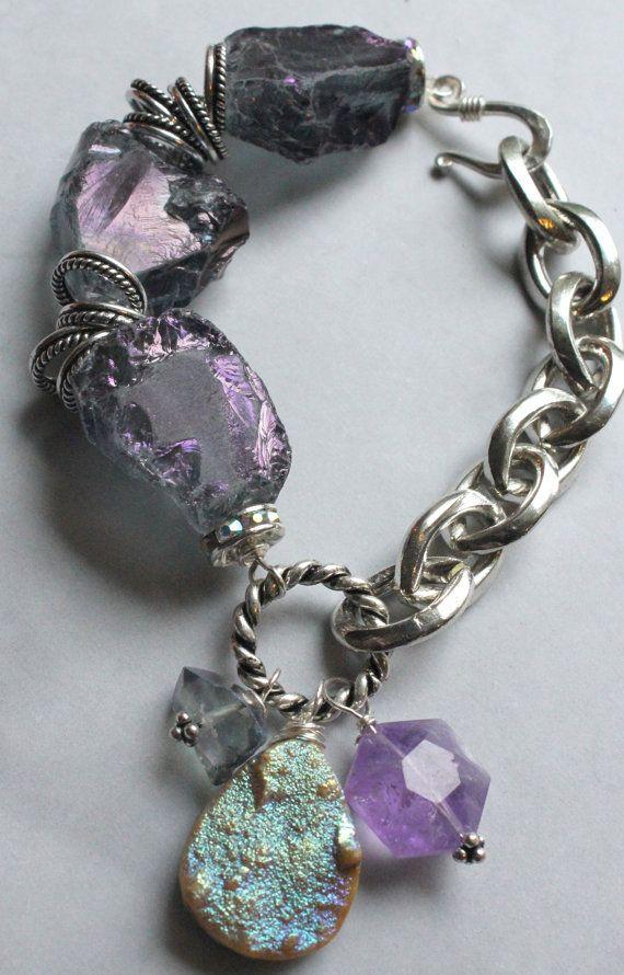 brazalete grueso, drusa pulsera, brazalete, pulsera de cadena fornida, pulsera púrpura