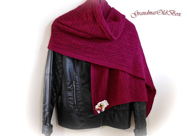 Hand knit burgundy  wool lace shawl/ Knitted wool lace wrap/Knit wool shawl/Knit wrap/Shawl by GrandmasOldBox on Etsy