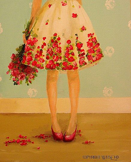 'ROSE WAS TRUE TO HER NAMESAKE', Rose Dress painting fashion art still life FREE USA shipping. by WitsEnd, via Etsy.