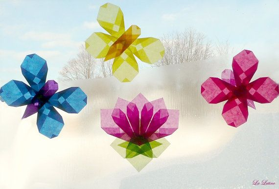 Set of 3 Butterflies and Lotus Flower Window Kite by LaLutine, $24.00