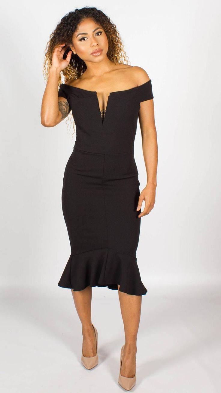Phoebe Peplum Detail Bardot Dress Black