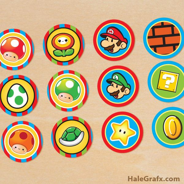 super mario cupcake toppers {FREE} Printable Super Mario Bros. Cupcake Toppers