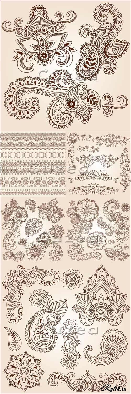 Elegantní vektorové ornamenty, monogramy, hranice a květinové vzory