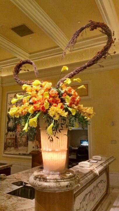 Fall floral arrangement at the bellagio hotel lobby las