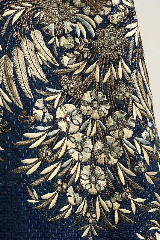 Stunning and sumptuous embroidery detail of Court suit Frockcoat, late 18th–early 19th century, French, silk, metallic thread, paste (c) Metropolitan Museum of Art. See extant outfit here: http://pinterest.com/pin/278589926921051059/