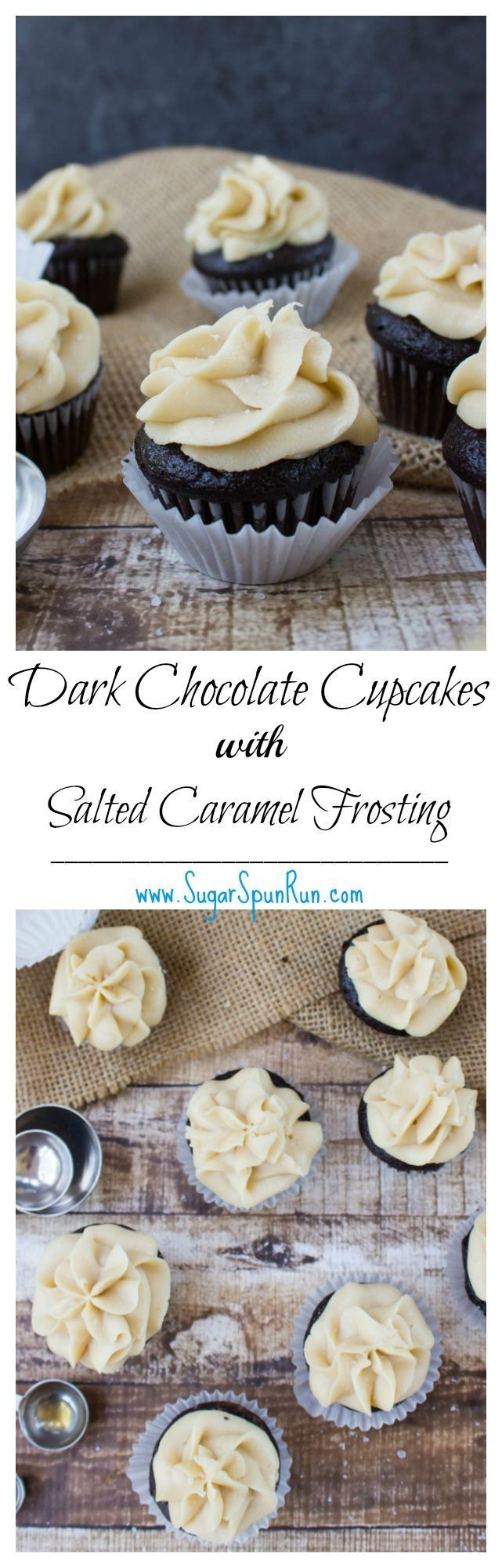 Mini dark chocolate cupcakes with salted caramel frosting  SugarSpunRun