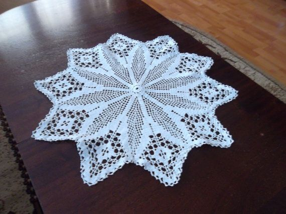 This is a sun round white doily with geometric pattern. Great for home decor, it will make your home warm and cozy. It will also make a great gift. Size:20.9 in diametre (53cm) Color: White To shop more hand-made earrings, visit the earring section of my shop: