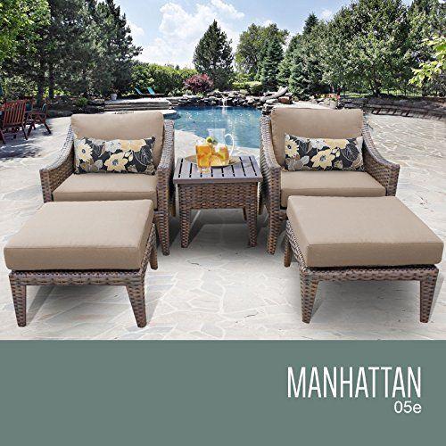 Manhattan 5 Piece Outdoor Wicker Patio Furniture Set 05e Check