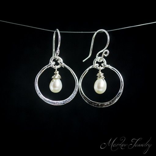 Pearl Cordials Earrings with White Pearls in Fine Silver #MarkovJewelry