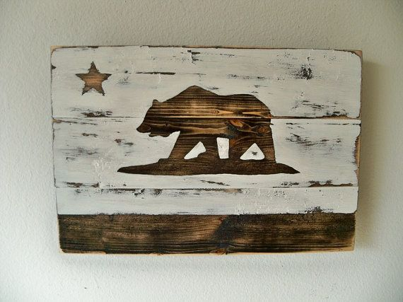 Heavily Distressed  Small Negative Space California Flag by Thula, $30.00