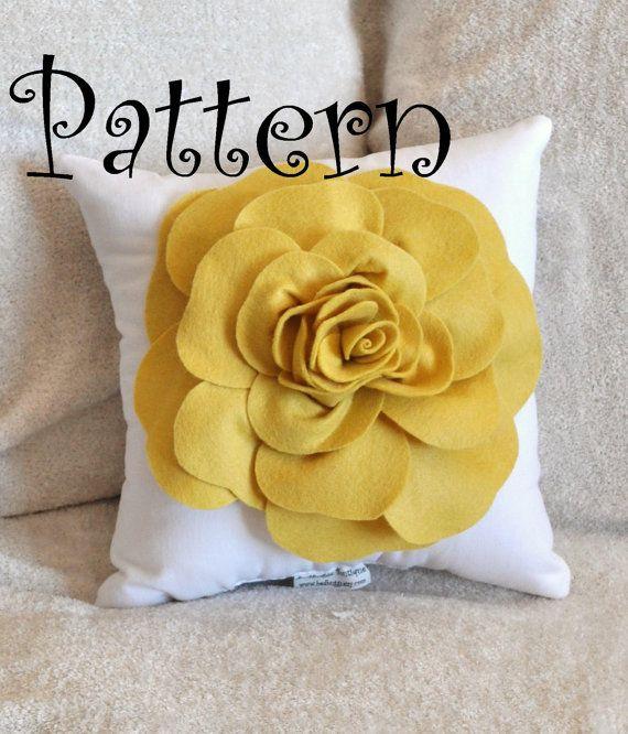 Flower Pillow PDF Felt Rose with Bonus Pillow PDF Pattern Tutorial Accent Pillow e-book from bedbuggs on Etsy.