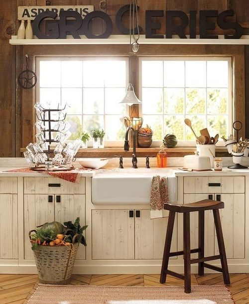 farmhouse style- I like the big window and the shelf over top, farmhouse sink and cupboards