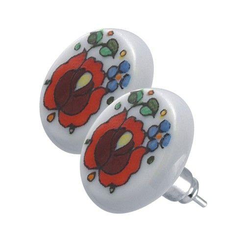 Egyedi tervezésű, különleges kivitelezésű, tradicionális kalocsai motívummal díszített fülbevaló a magyar ZEMA ékszerkollekciójából. I ZEMA I Feminashop.hu