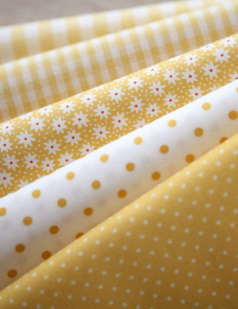 YELLOW Floral dots and check Cotton fat Quarter Set of 5 by SonSu, $13.20