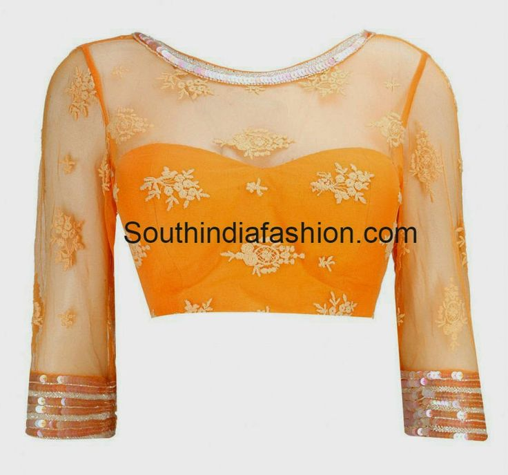 blouse with net for neck