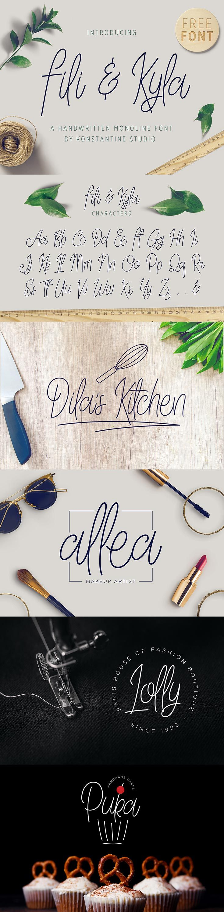 Free Fili Kyla Monoline Handwriting Script Font by yours truly. Perfectly fit for your vintage casual branding things, feminine and beautiful logo type, etc. via @creativetacos