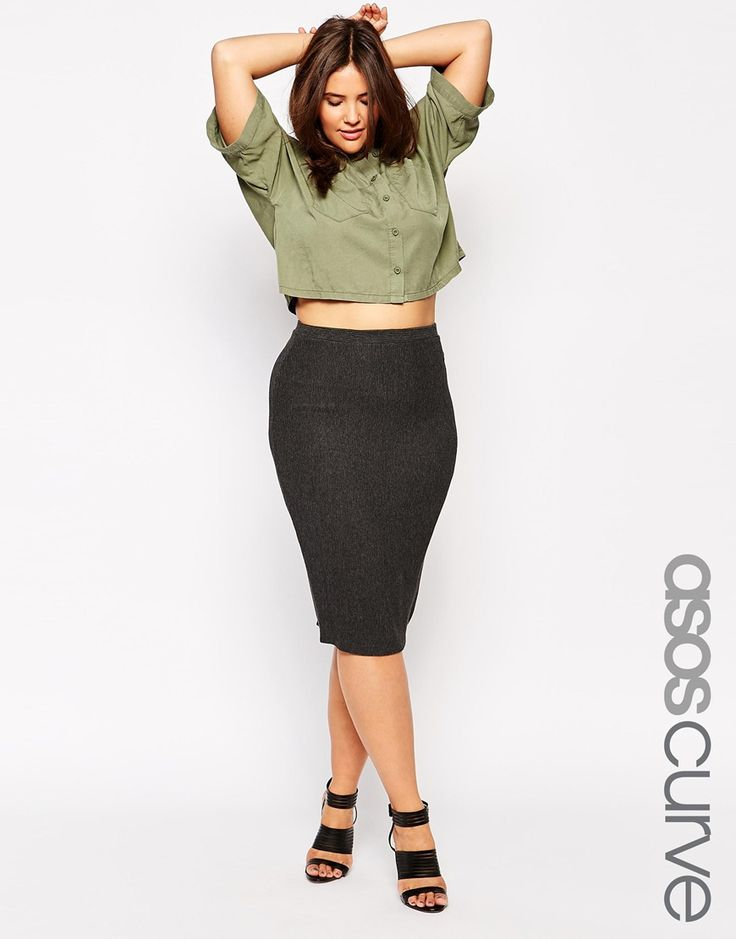 image 1 of asos curve midi pencil skirt in heavy rib
