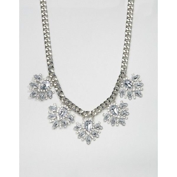 True Decadence Rhinestone Flower Necklace (€12) ❤ liked on Polyvore featuring jewelry, necklaces, silver, flower necklace, chunky chain necklace, chains jewelry, floral jewellery and adjustable necklace
