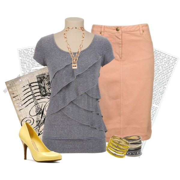 Love the top but would wear dark wash denim instead of peach skirt to go with the shoes
