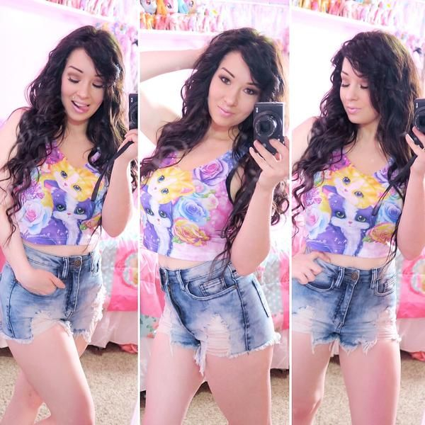 Cute Lisa Frank Kitten Roses Crop Top! Order yours now!  https://www.rageon.com/products/kitten-roses-crop-top?aff=HcrD lisa frank clothing, posters, shirts, stickers, coloring books, supplies, pants, and art!