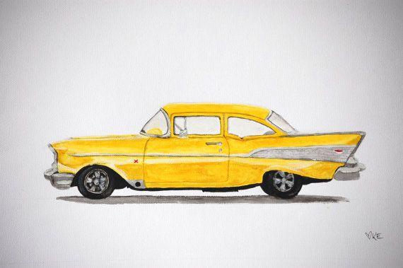 Classic car art classic car nursery 57 Chevy by KookookachooArt