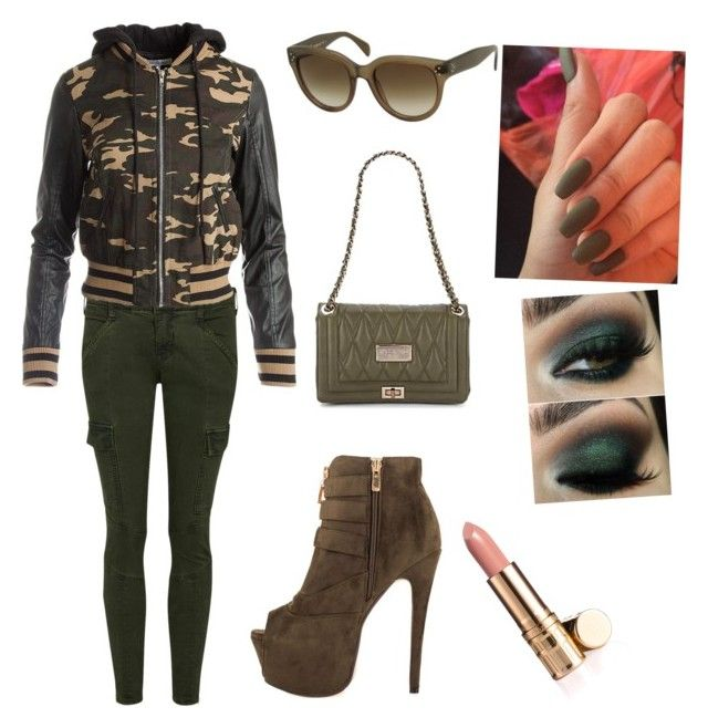 """Army outfit/look"" by emmalie-siewartz-nielsen ❤ liked on Polyvore featuring J Brand, Sans Souci, Luichiny, Mario Valentino, CÉLINE and Elizabeth Arden"