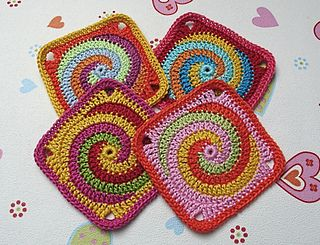 I have one more coaster to make for  a friend...I think THIS  is it !!!!    Granny Square TWISTER crochet pattern
