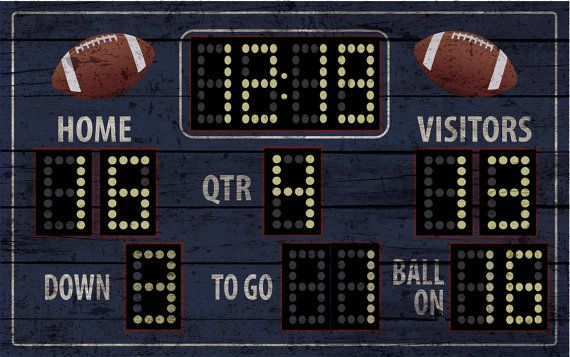 This is a recreation of football score board ... It is 48 x 30. Easy application to wall and can be removed easy and placed somewhere else... If you have any questions or personal touches you want to add to the board please let me know and i can send you a proof...