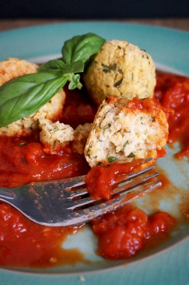 Chickpea Meatball recipe for meatless Monday! Or any day, because they're that good. With homemade quick marinara sauce. From The Cheerful Kitchen