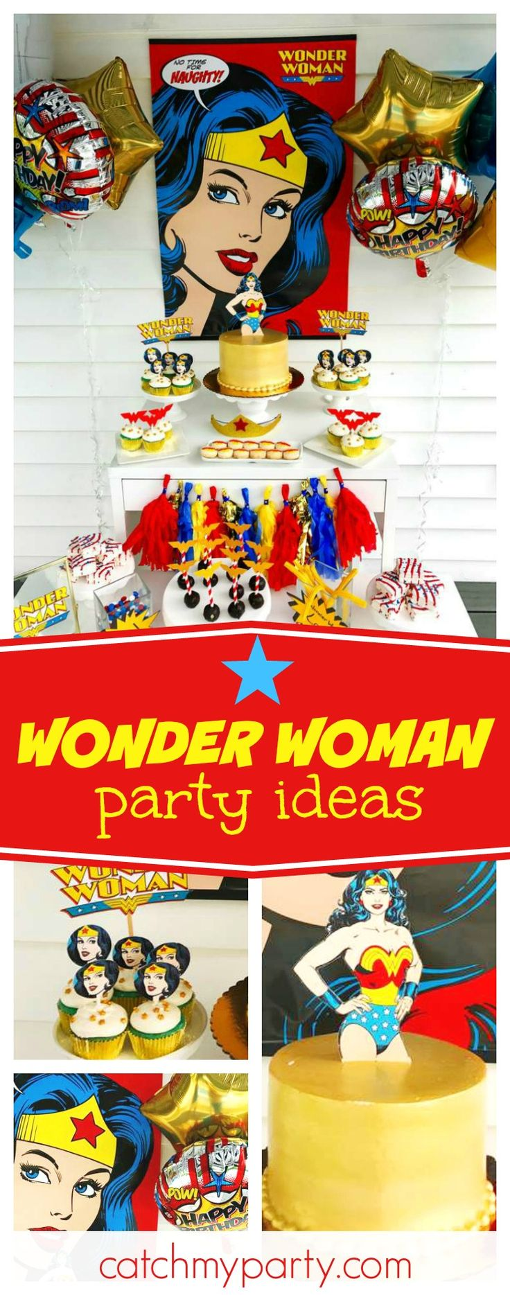 Take a look at this amazing Wonder Woman birthday party!! The dessert table and backdrop are incredible!! See more party ideas and share yours at CatchMyParty.com