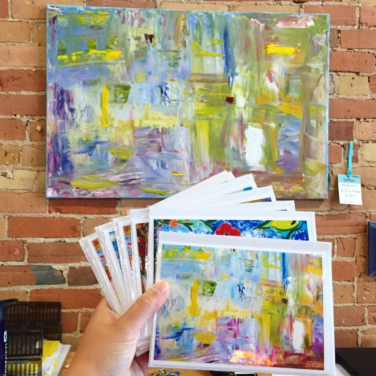 An abstract by local artist Anne Poirier, and a selection of blank cards with her paintings!