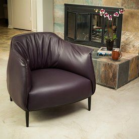 Best Selling Home Decor Roosevelt Midcentury Vicenza Purple Faux Leather Accent Chair 295156