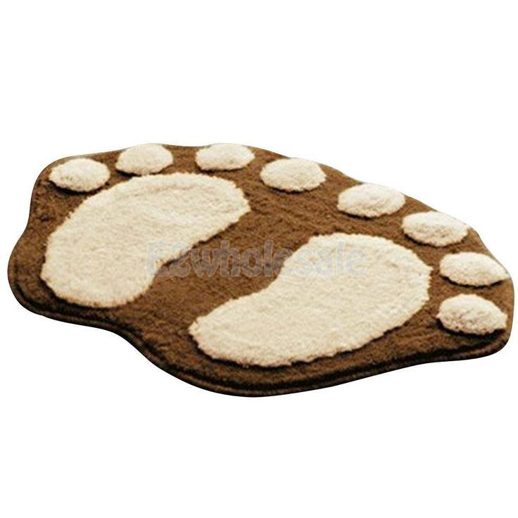 Floor Anti-Slip Brown Absorbent Footprint Plush Mat Carpet Bathroom Kitchen