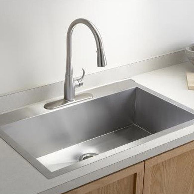stainless steel brushed satin 33 inch single bowl topmount drop in zero radius kitchen sink 33 inch stainless steel single topmount sink silver. Interior Design Ideas. Home Design Ideas