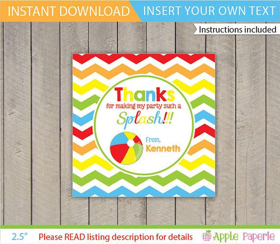Pool Party Favor Tag / Pool Party Gift Tag / Kids by ApplePaperie