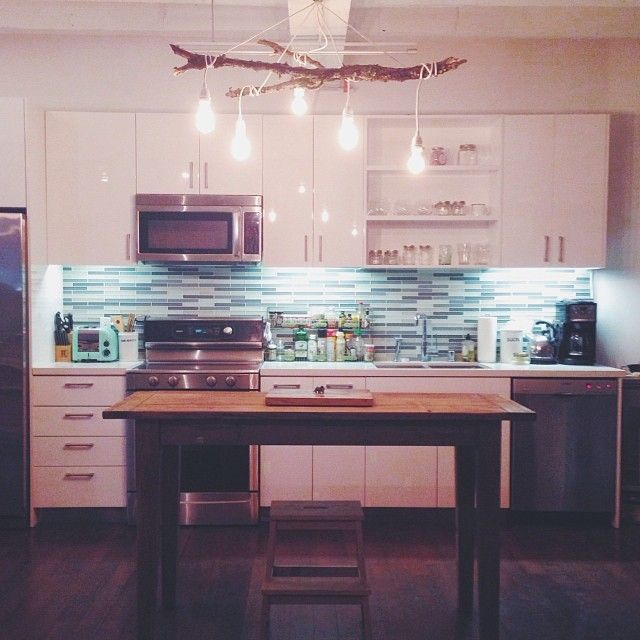 KITCHEN | Love the light fixture & microwave over stove