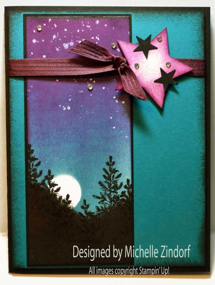 Twinkling Stars Stampin' Up! Card created by Michelle Zindorf using the Lovely as a Tree and Gorgeous Grunge stamp sets.