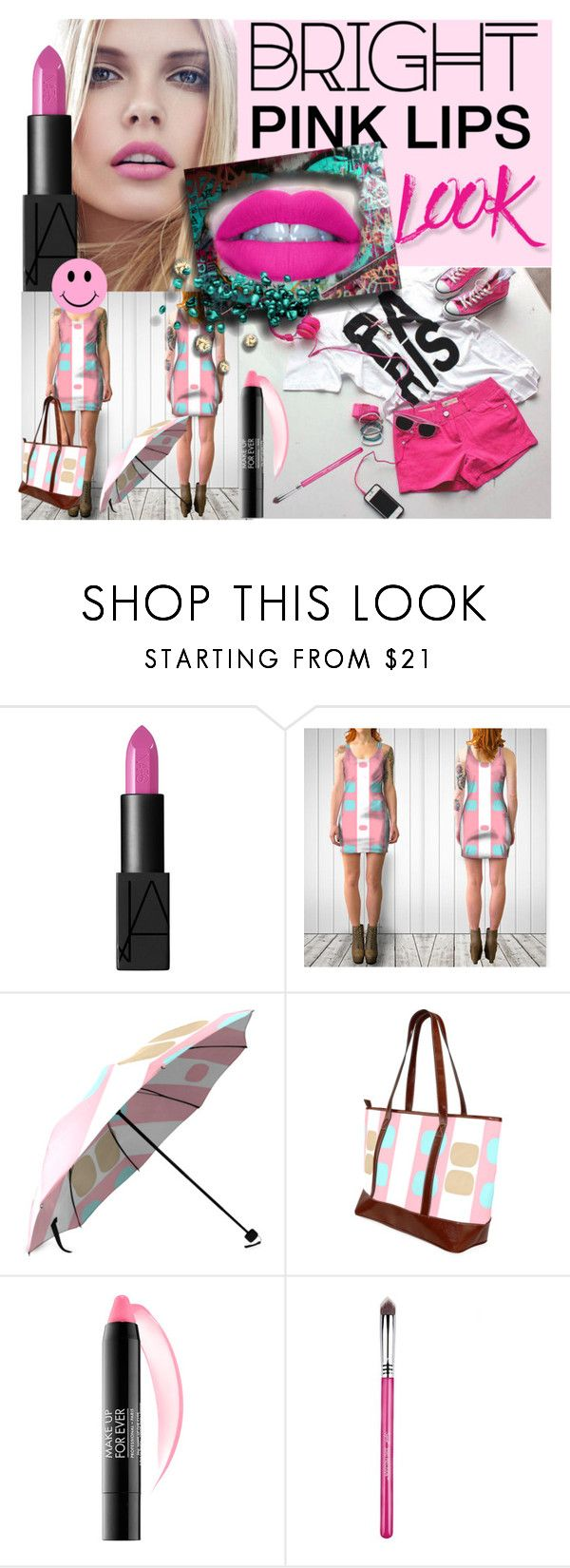 """BRIGHT PINK LIPS LOOK"" by annabelle-h-ringen-nymo ❤ liked on Polyvore featuring beauty, NARS Cosmetics, GURU, MAKE UP FOR EVER and pinklips"