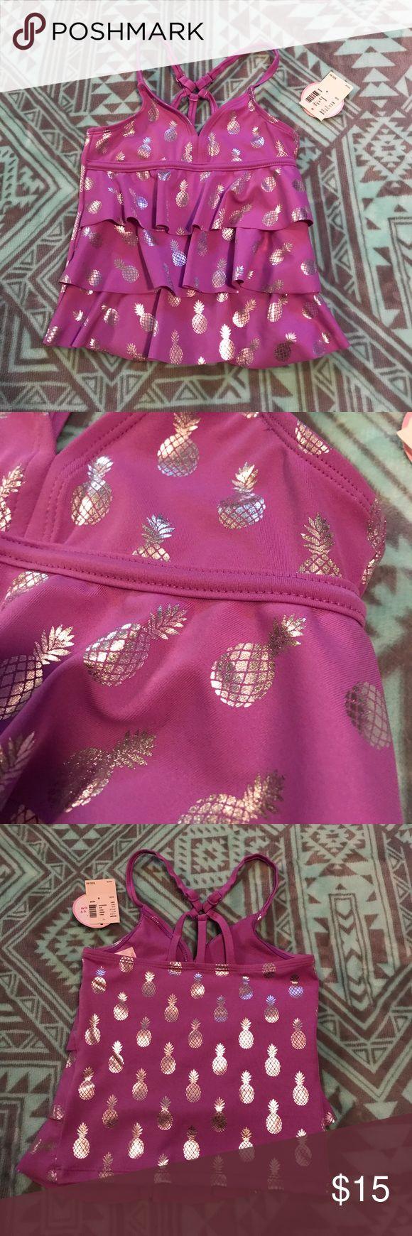 New Girls Gymboree Pineapple Tankini Swim Suit Top Brand new with tags ($35.90) Gymboree light purple with silver foil pineapples tankini swim suit top. Size 6. Gymboree Swim Bikinis