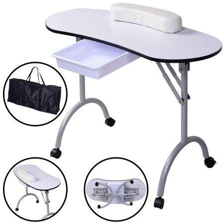 Costway Portable Manicure Nail Table Station Desk Spa Beauty Salon Equipment White