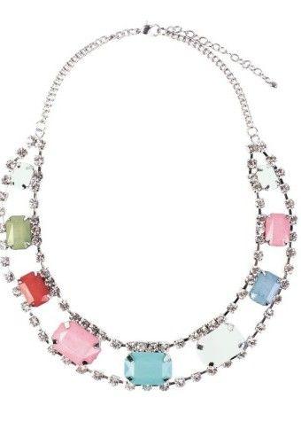 Plochý náhrdelník s farebnými kamienkami #modino_sk #modino_style #necklace #colours #colourful #style #fashion