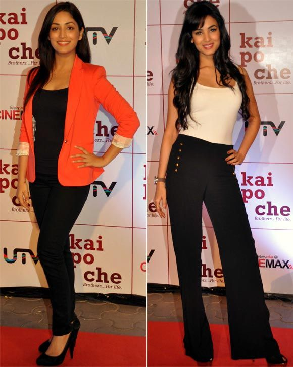 Actresses Sonal Chauhan and Yami Gautam looked striking in their outfits at the Kai Po Che premiere. #Bollywood #Fashion