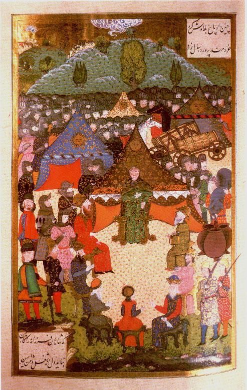The king of Hungary, Lajos II, in council before the Battle of Mohacs Suleymanname. Ali . Amir Beg Shirwani Istanbul, 1558. Hazine. 1517, folio 200a