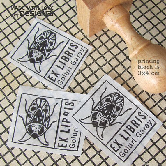 Beetle: personalised stamp 3x4 cm by lida21 on Etsy