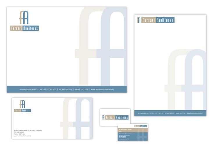 Diseño de identidad corporativa para Ferrari Auditores. Incluye: logotipo, tarjetas personales, sobres, hoja membretada y firmas para mail.