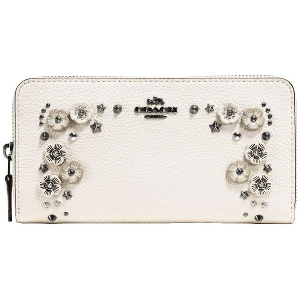 Coach Accordian Willow Flower Leather Zip Purse ($360) ❤ liked on Polyvore featuring bags, wallets, floral wallets, flower wallet, zipper wallet, coach bags and leather wallets